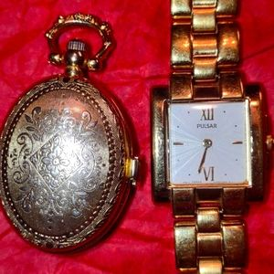 Women's vintage pocket watch and pulsar gold watch